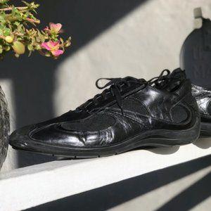 Men's Back Bucci Black Leather Sneakers Shoes
